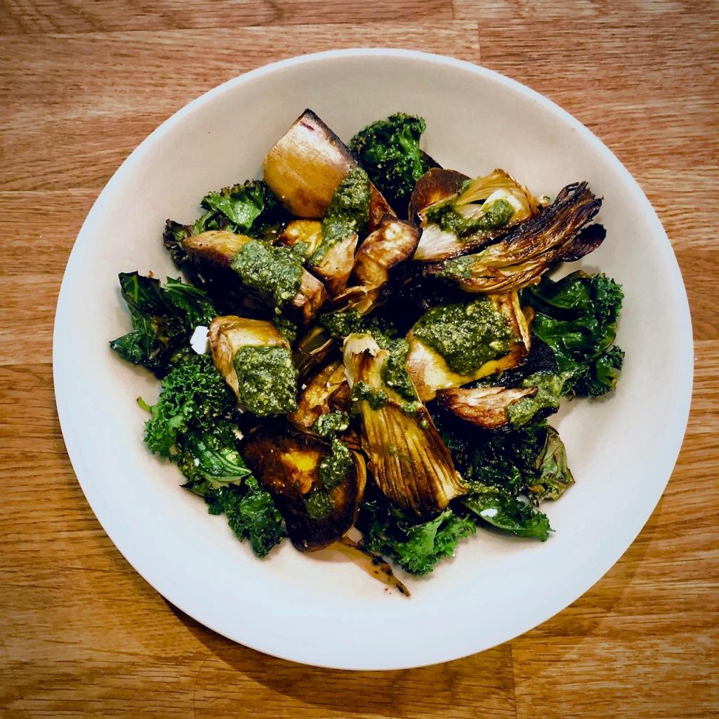 Kale, batata doce, funcho e pesto,